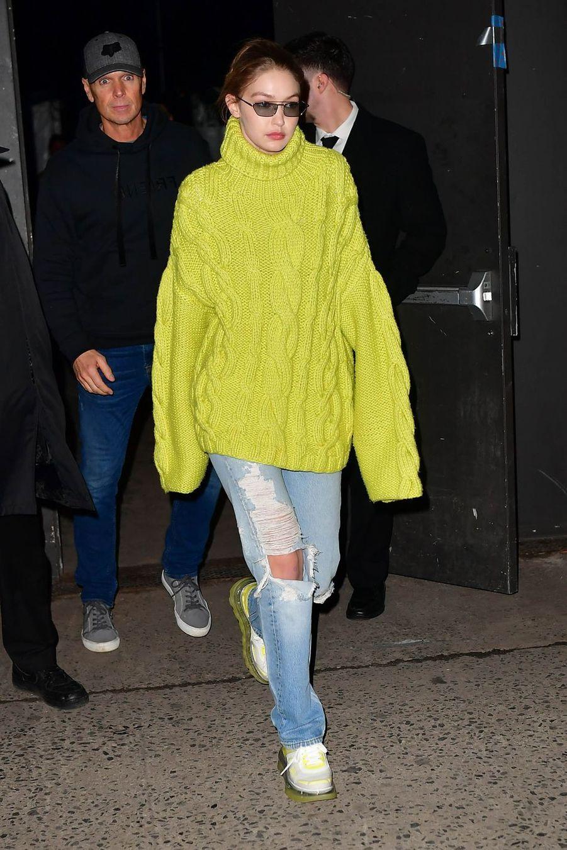 Gigi Hadid à la sortie du défilé de mode Marc Jacobs lors de la Fashion Week à New York le 13 février 2019