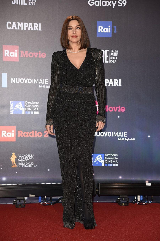 """Monica Bellucci au photocall de la 62ème cérémonie des """"David di Donatello Awards"""" à Rome, le 21 mars 2018"""