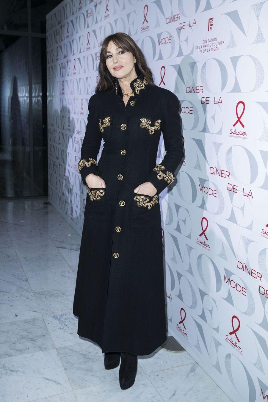 """Monica Bellucci lors de la 17e édition du """"Dîner de la mode du Sidaction"""" au Pavillon d'Armenonville à Paris, le 24 janvier 2019"""