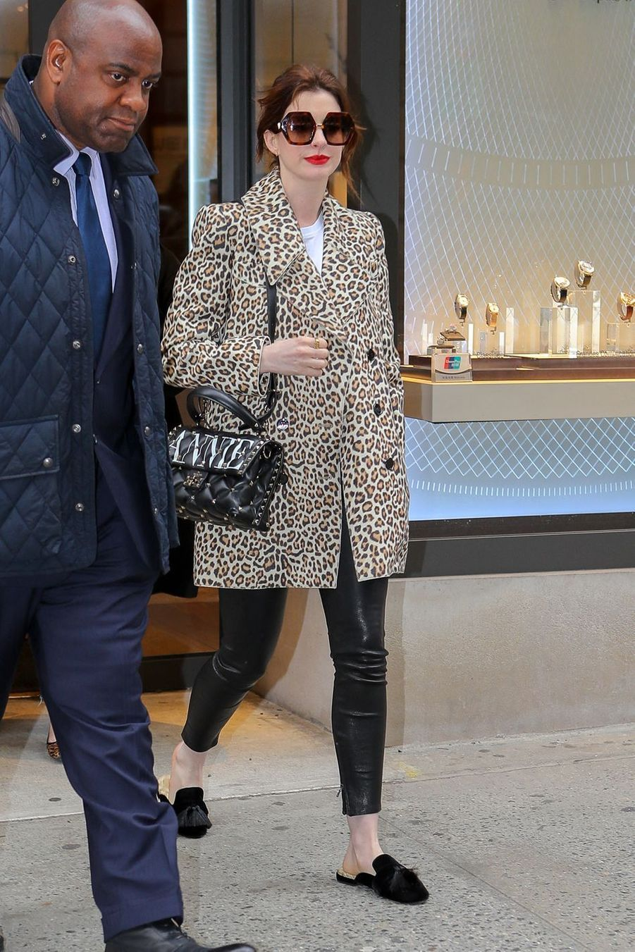 Anne Hathaway à New York, le 28 avril 2019