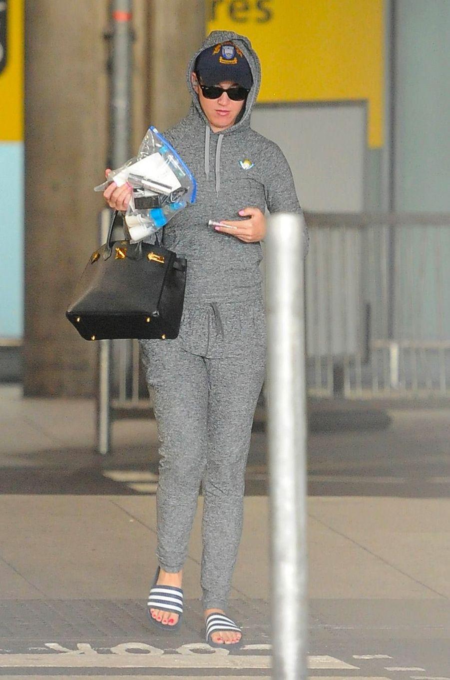 Katy Perry à l'aéroport de Londres, le 12 juillet 2018