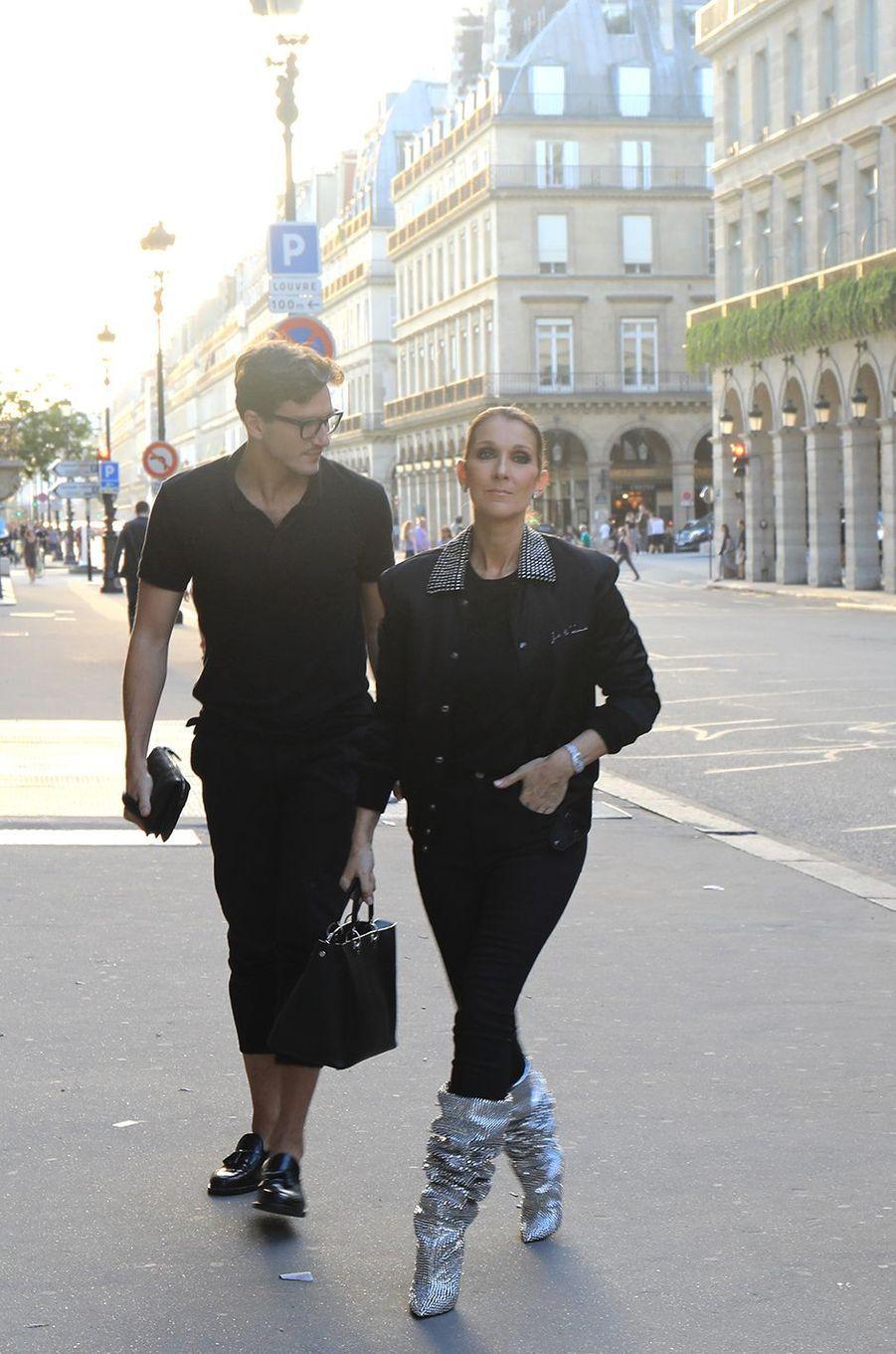 Pepe Munoz avec Céline Dion à Paris, le 7 juillet 2017.
