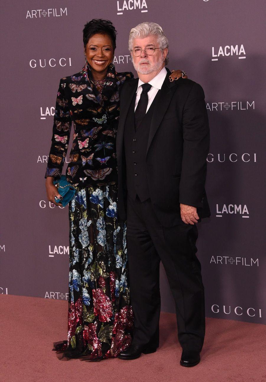 George Lucas Et Sa Femme Mellody Hobson À La Soirée LACMA Art Au Musée LACMA À Los Angeles, Le 4 Novembre 2017