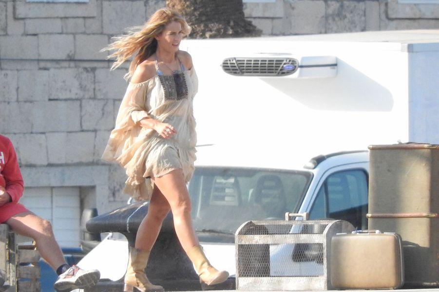 """Lily James sur le tournage de """"Mamma Mia 2"""" en Croatie, en octobre 2017."""