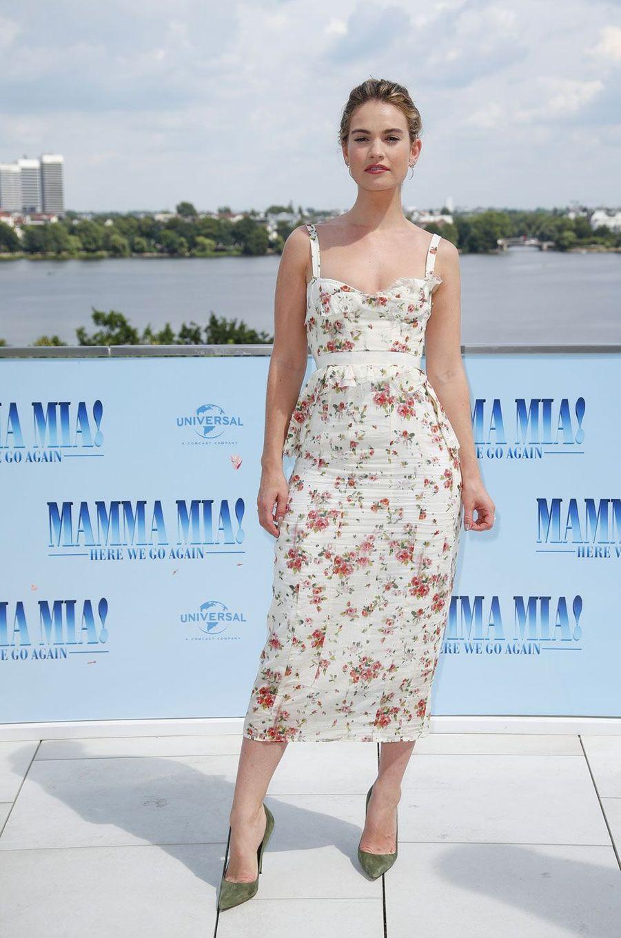 """Lily James le 12 juillet 2018 à Hambourg pour """"Mamma Mia 2"""""""