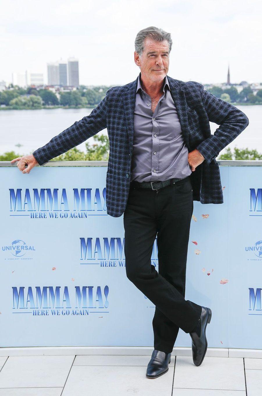 """Pierce Brosnan le 12 juillet 2018 à Hambourg pour """"Mamma Mia 2"""""""