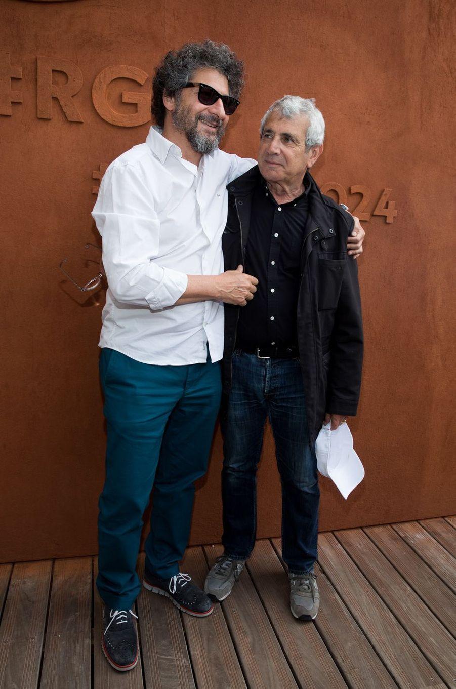 Radu Mihaileanu et Michel Boujenahà Roland-Garros, le 3 juin 2017.