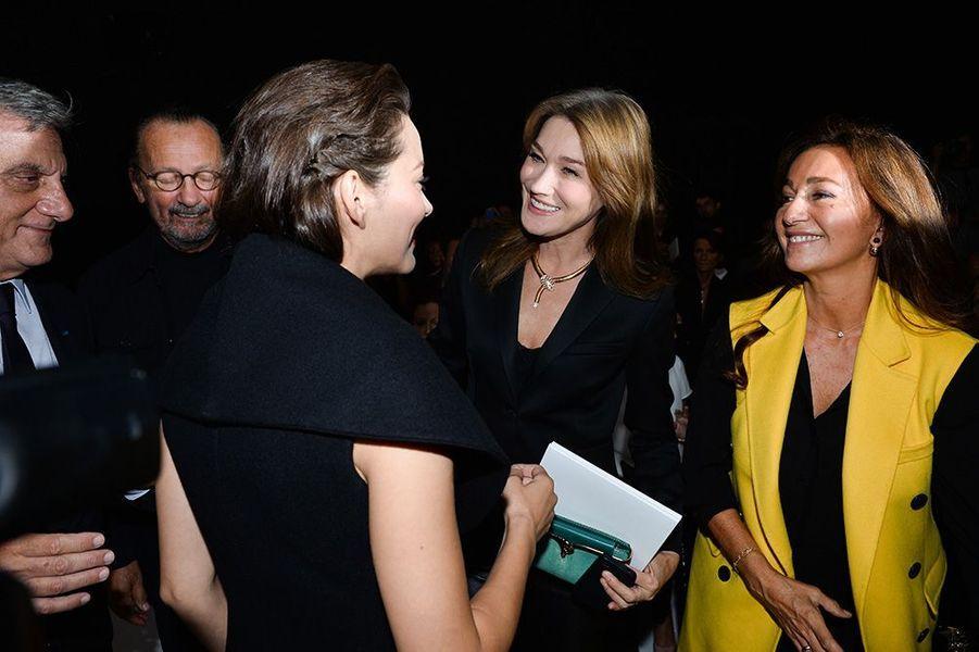Carla Bruni, Marion Cotillard, Katia Toledano au défilé Christian Dior, le 26 septembre 2014, à Paris