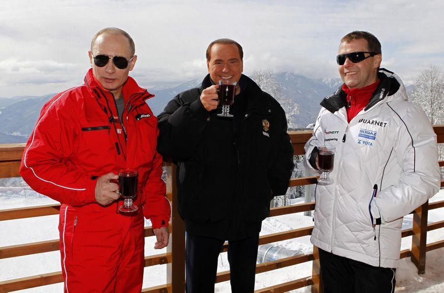 Avec Dmitri Medvedev à la station de ski de Krasnaïa Poliana sur les hauteurs de Sotchi (mars 2012)