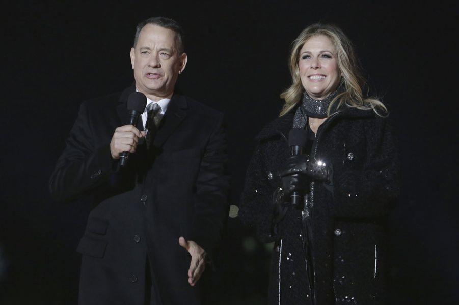 Tom Hanks et Rita Wilson à l'inauguration des illuminations de la Maison Blanche