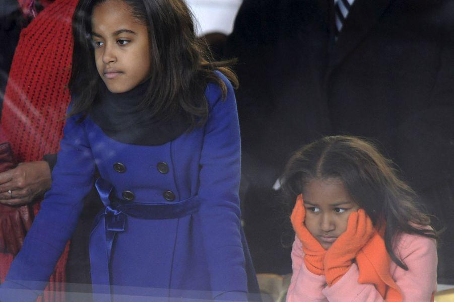 Malia et Sasha Obama, en janvier 2009.