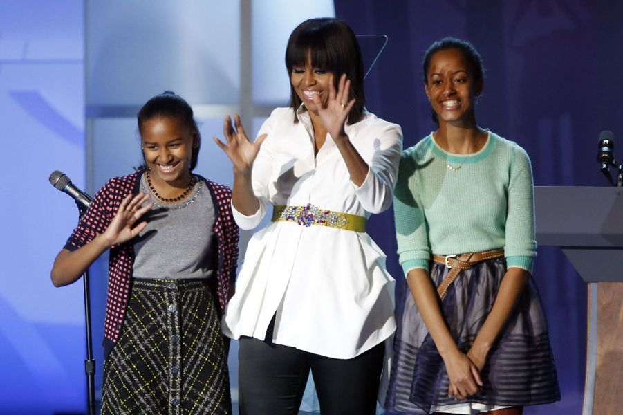 Michelle Obama avec ses filles Malia et Sasha, en janvier 2013.