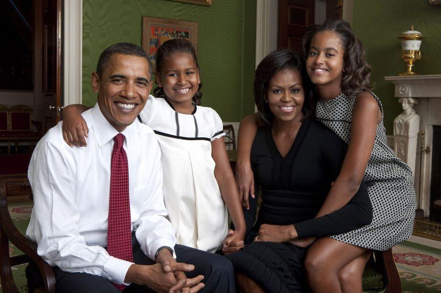 Michelle et Barack Obama avec leurs filles Malia et Sasha, en septembre 2009.