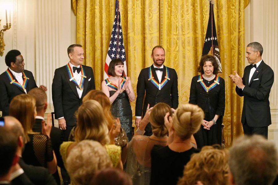 Barack Obama et les lauréats des Honneurs du Kennedy Center à la Maison blanche Washington, le 7 décembre 2014