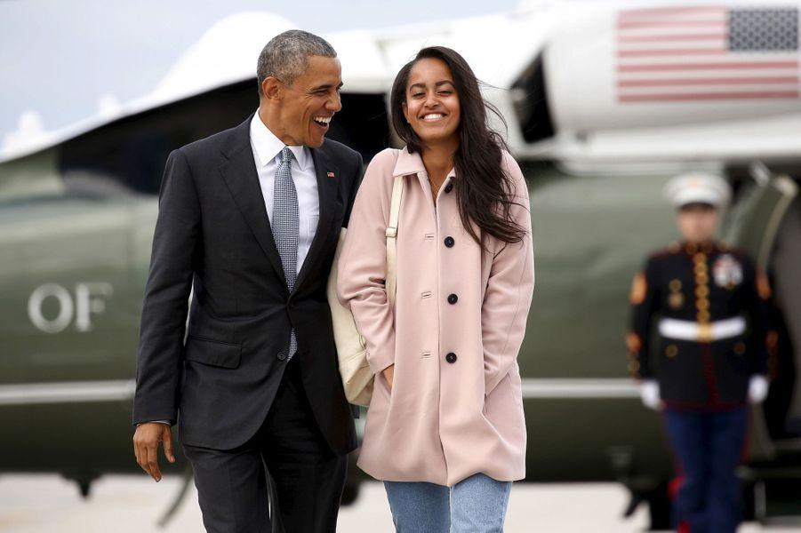 Barack Obama et sa fille Malia, en avril 2016.