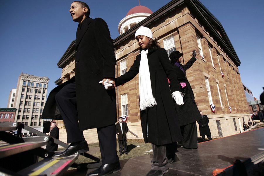 Barack Obama et sa fille Malia, en février 2007.