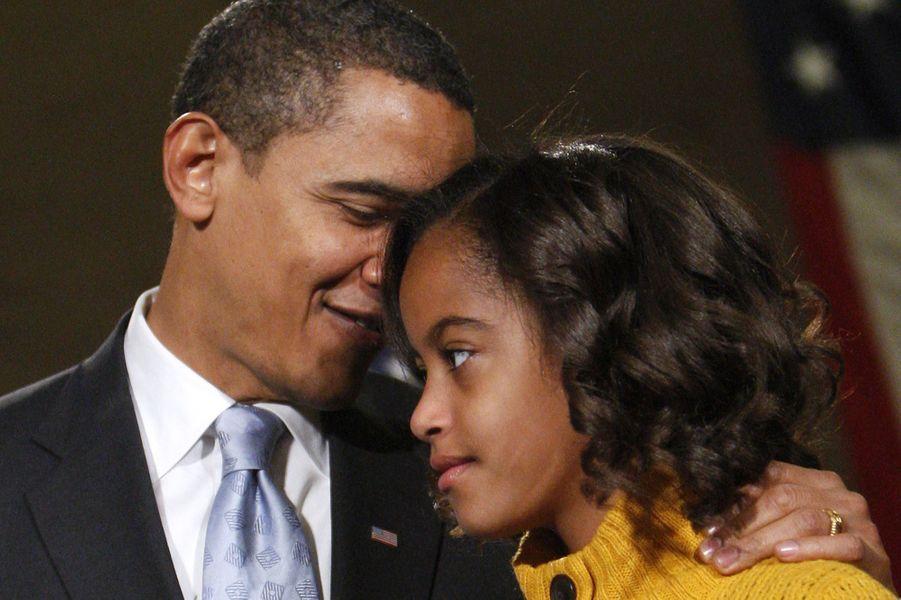 Barack Obama et sa fille Malia, en janvier 2009.