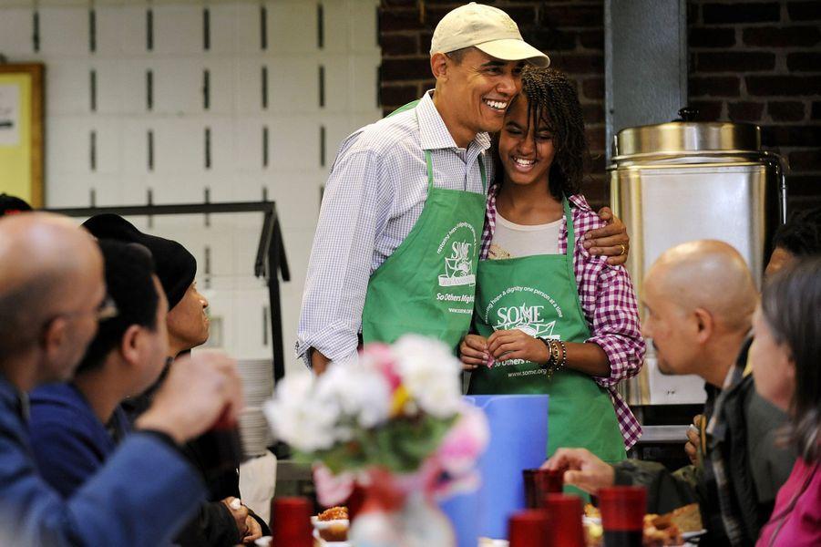 Barack Obama et sa fille Malia, en janvier 2010.