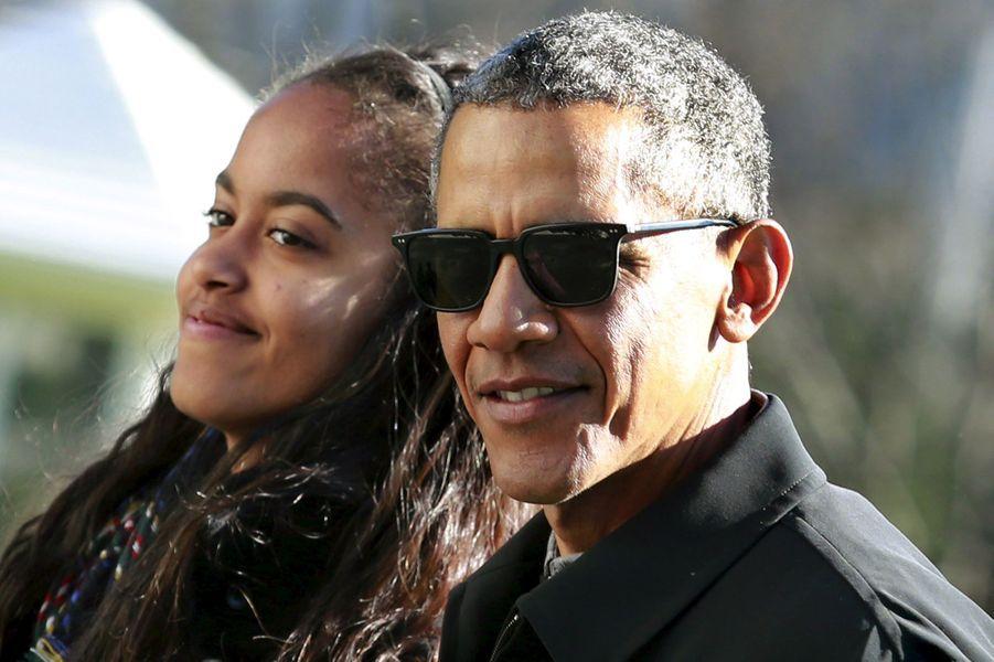 Barack Obama et sa fille Malia, en janvier 2016.