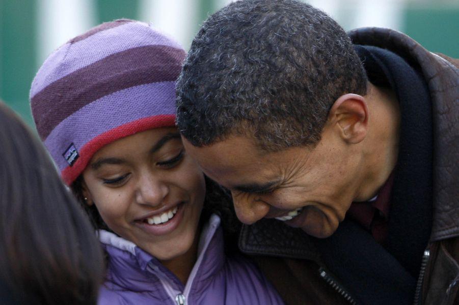Barack Obama et sa fille Malia, en novembre 2008.