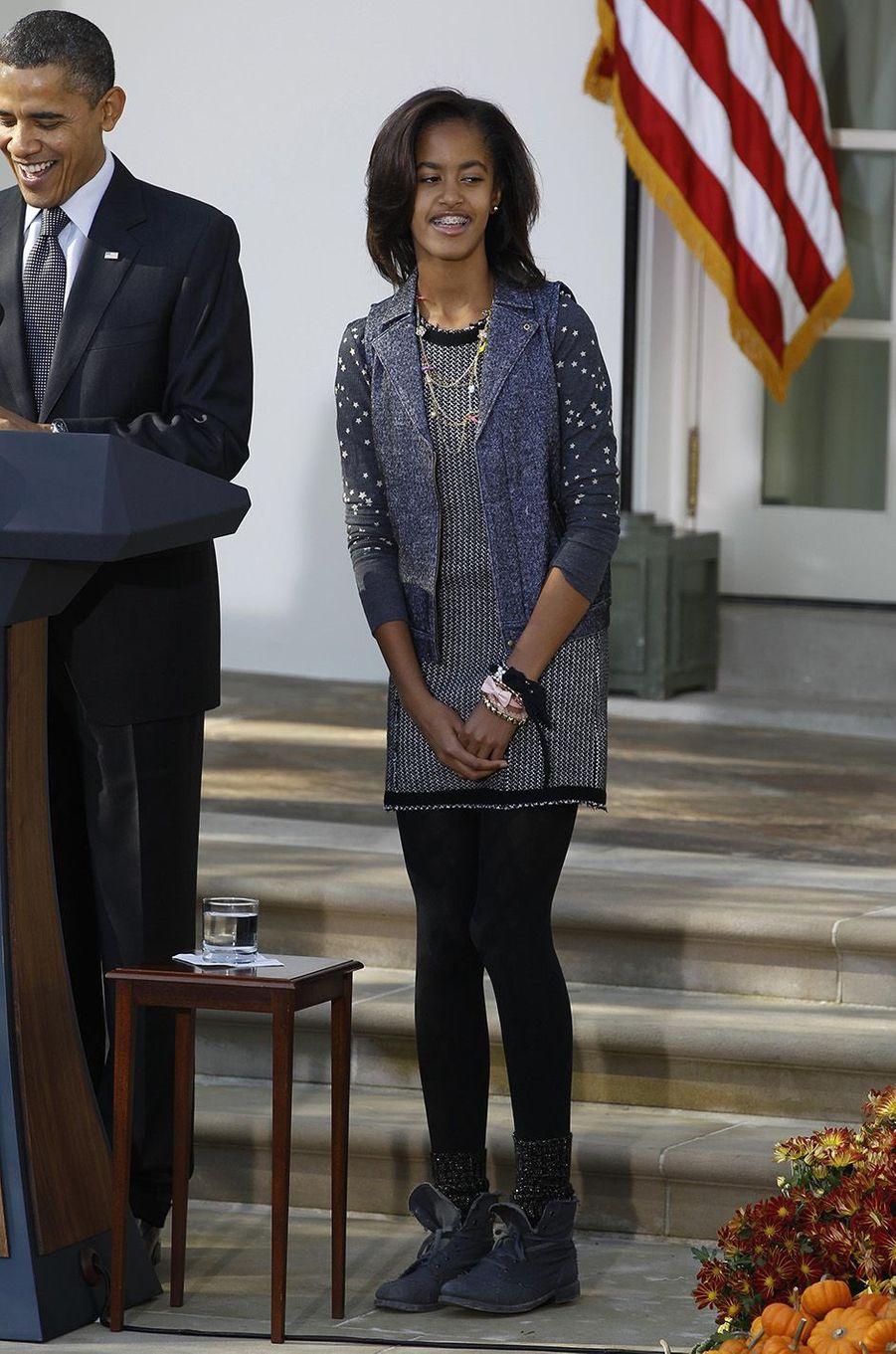 Barack Obama et sa fille Malia, en novembre 2010.