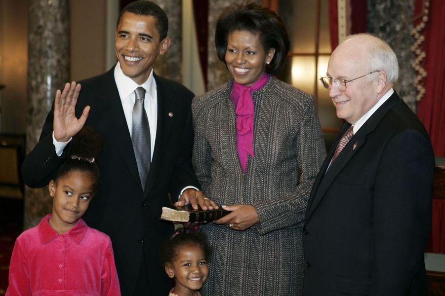 La famille Obama, en janvier 2005.
