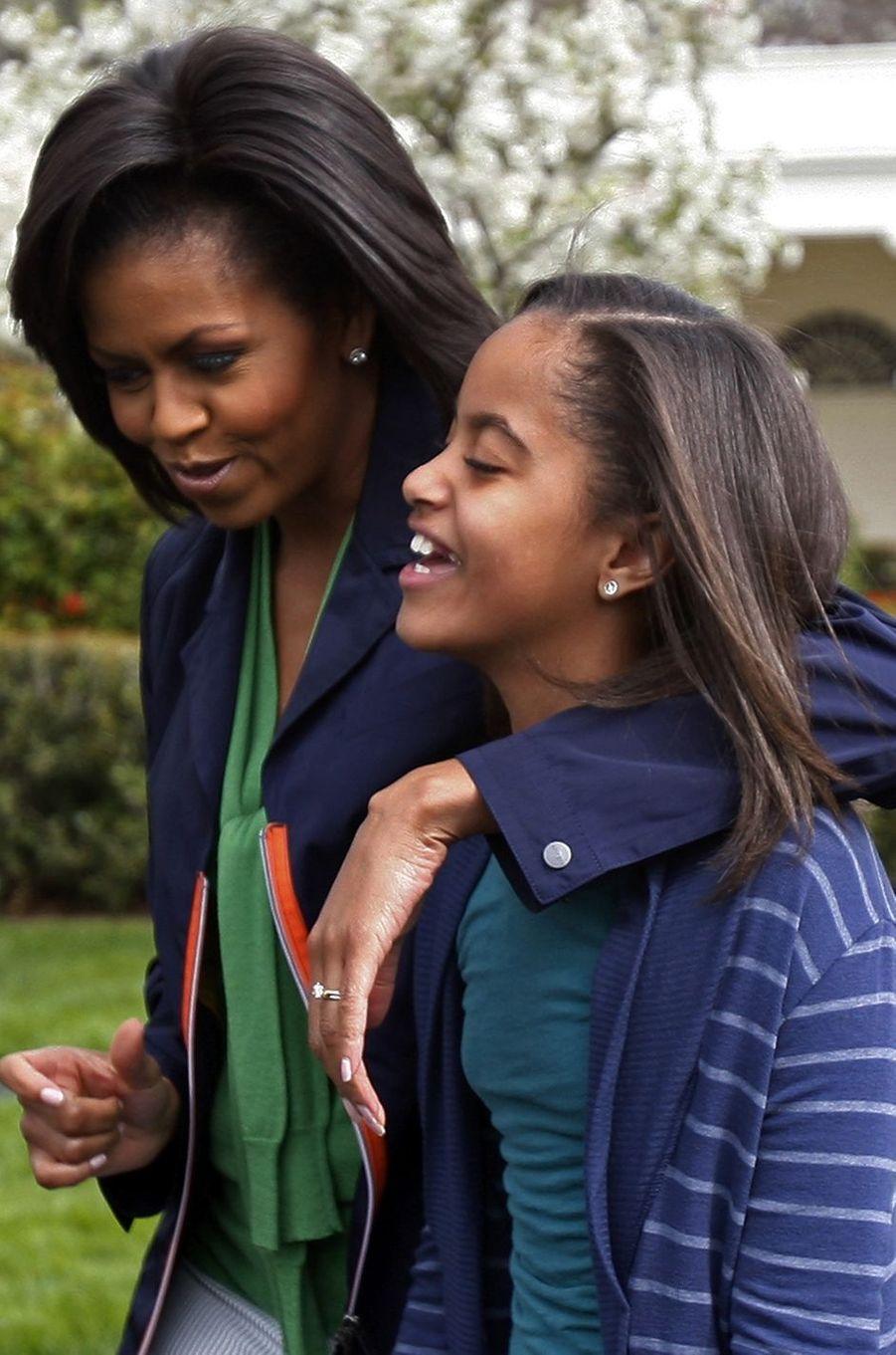 Michelle Obama et sa fille Malia, en avril 2009.