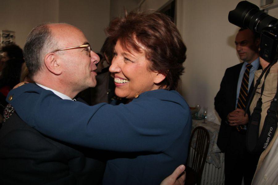 Bernard Cazeneuve et Roselyne Bachelot au Nouvel An juif de Marek Halter à Paris, le 28 septembre 2014