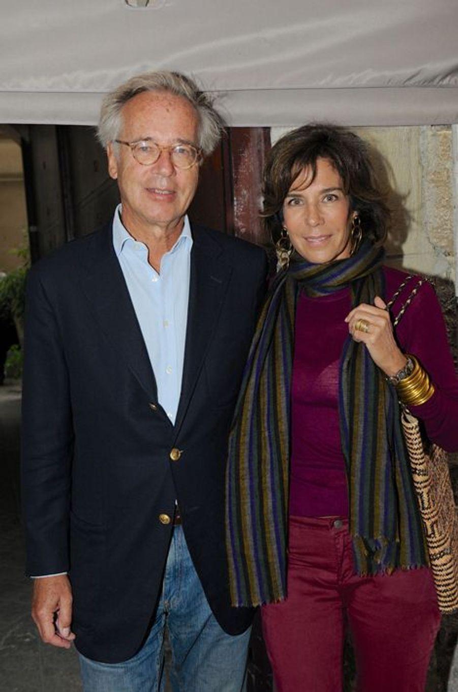 Christine Orban et son mari au Nouvel An juif de Marek Halter à Paris, le 28 septembre 2014