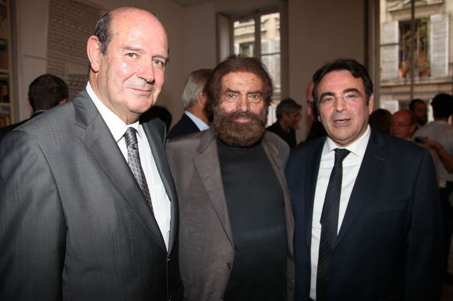 Claude Barouch, Marek Halter et Joël Mergui au Nouvel An juif de Marek Halter à Paris, le 28 septembre 2014