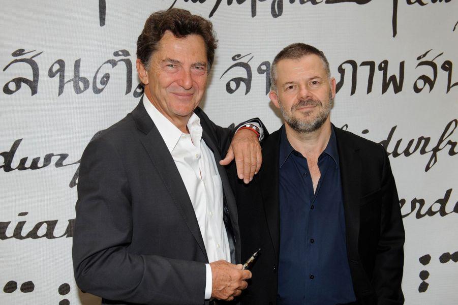 Claude Weill et Eric Naulleau au Nouvel An juif de Marek Halter à Paris, le 28 septembre 2014