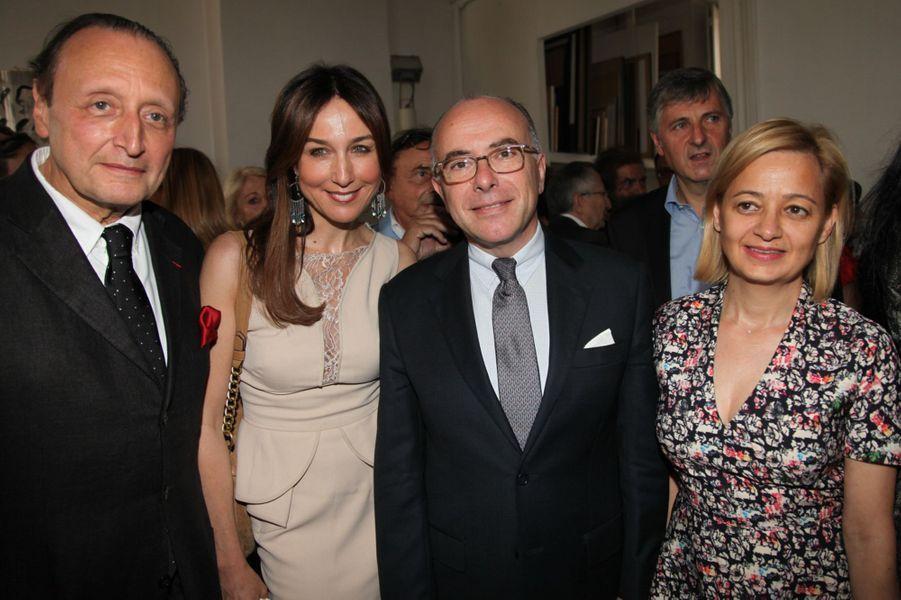 Elsa Zylberstein, Bernard Cazeneuve et sa femme au Nouvel An juif de Marek Halter à Paris, le 28 septembre 2014