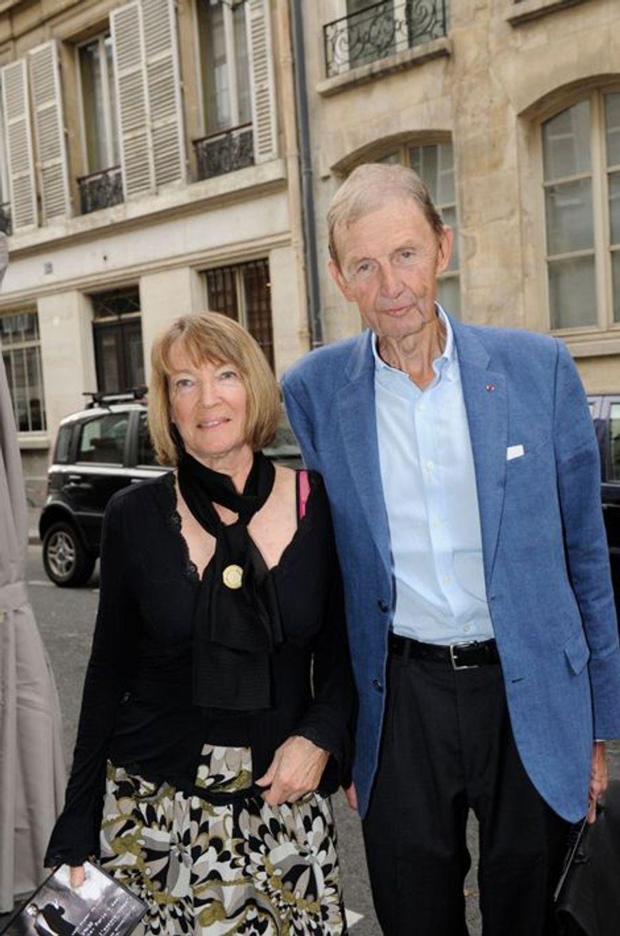 Etienne Mougeotte et sa femme au Nouvel An juif de Marek Halter à Paris, le 28 septembre 2014