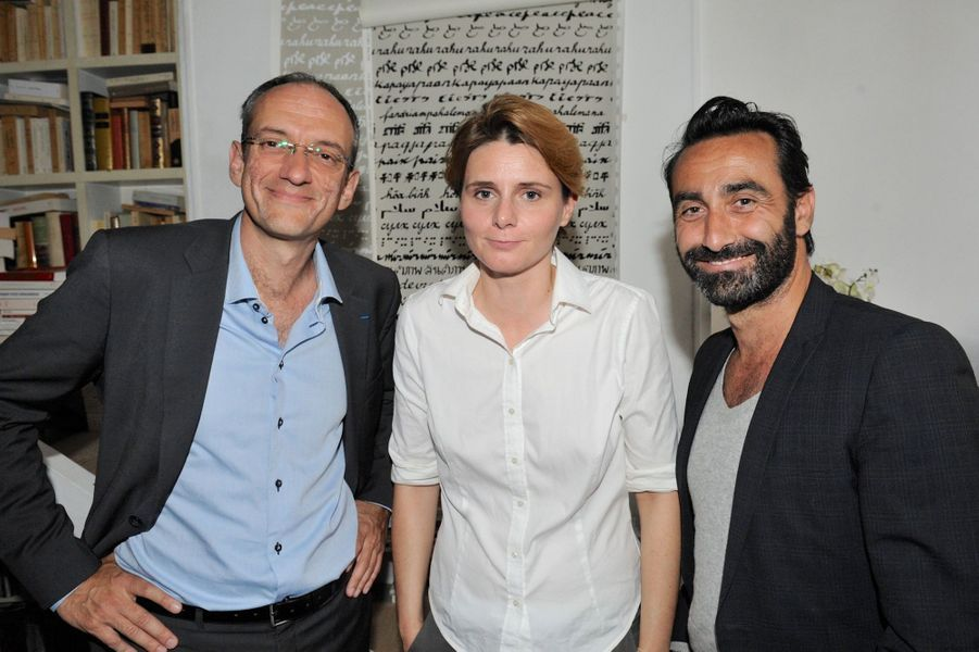 Frédéric Encel et Caroline Fourest au Nouvel An juif de Marek Halter à Paris, le 28 septembre 2014