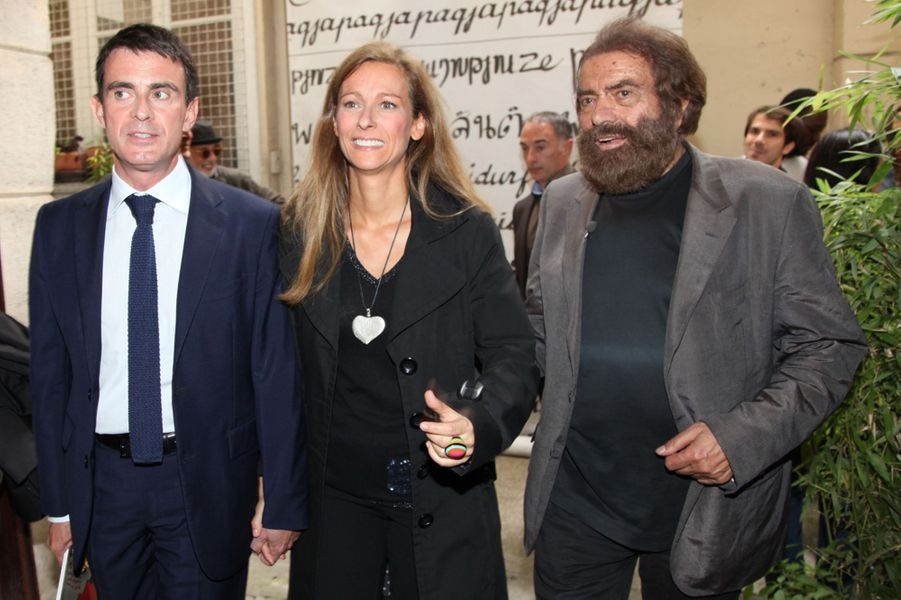 Manuel Valls et Anne Gravoin au Nouvel An juif de Marek Halter à Paris, le 28 septembre 2014