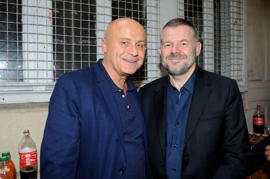 Olivier Poivre d'Arvor et Eric Naulleau au Nouvel An juif de Marek Halter à Paris, le 28 septembre 2014