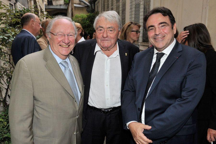 Roger Cukierman, Claude Lanzmann et Joël Mergui au Nouvel An juif de Marek Halter à Paris, le 28 septembre 2014