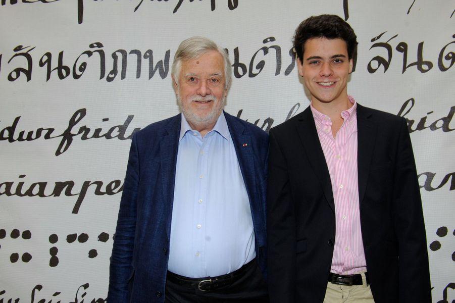 Yves Coppens et son fils au Nouvel An juif de Marek Halter à Paris, le 28 septembre 2014