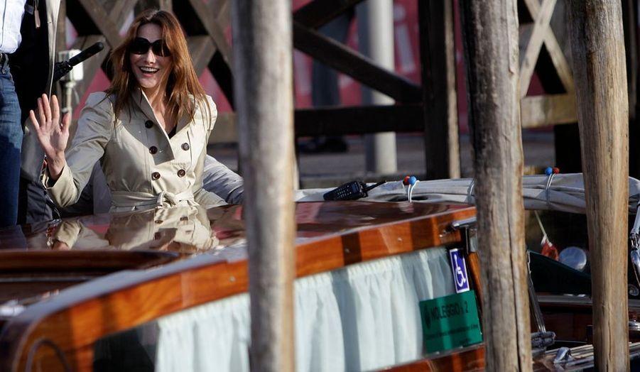 Carla Bruni-Sarkozy est à Venise, le temps d'un concert donné par la Fondation Cini.