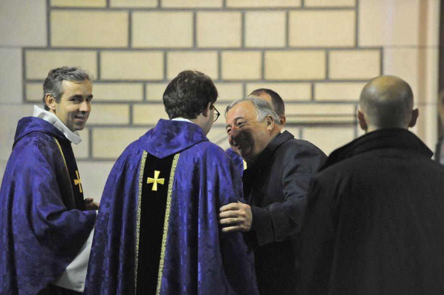 Gérard Larcher à la messe à la mémoire de l'ancien sénateur Xavier de Villepin à Paris, le 12 novembre 2014