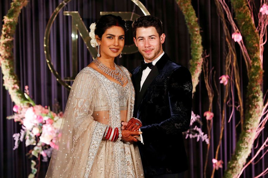 Priyanka Chopra et Nick Jonas à la réception en l'honneur de leur mariage, à New Delhi mardi