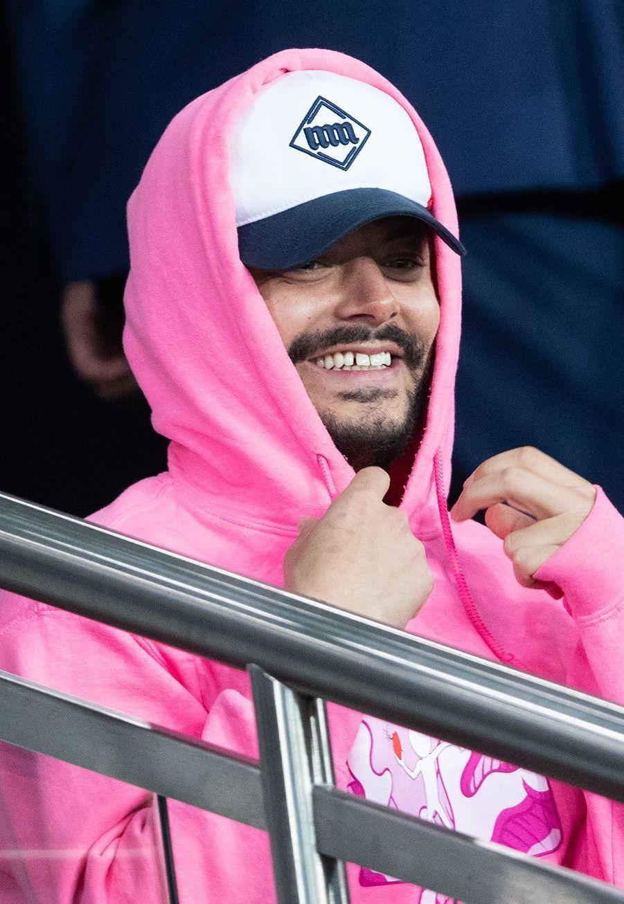 Kev Adamsdans les tribunes du match opposant le PSG à Bordeaux, au Parc des Princes de Paris, le 23 février 2020. Le PSG a gagné 4-3.