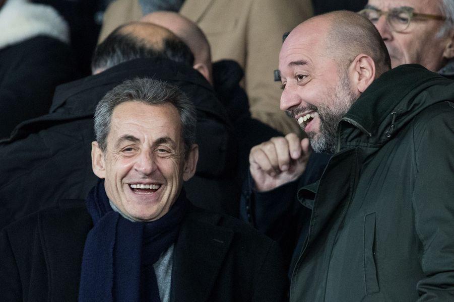 Nicolas Sarkozy et Gérard Lopezau Parc des Princes lors du match PSG-Lille le 22 novembre 2019