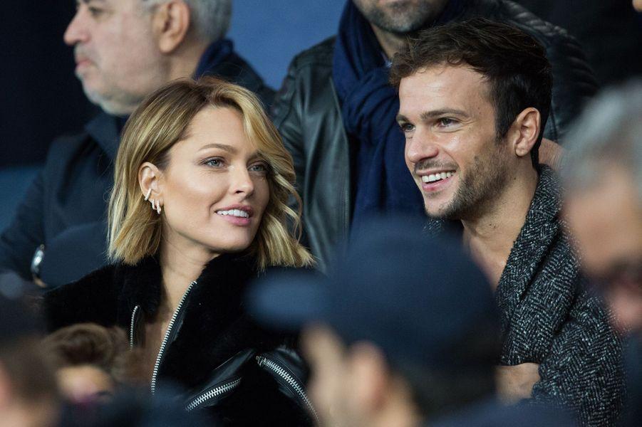 Caroline Receveur et Hugo Philiplors du match PSG-OM au Parc des Princes le 27 octobre 2019