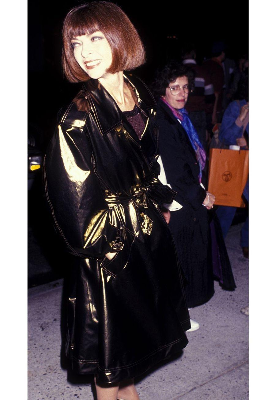 Anna Wintour à l'ouverture des Galeries Lafayette dans laTrump Tower à New York en mars 1991.