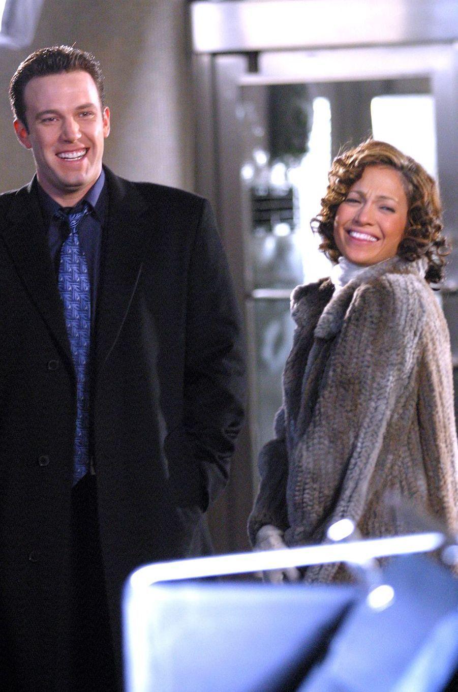 Jennifer Lopez et Ben Affleck sur le tournage du film «Jersey Girl» à New York en novembre 2002