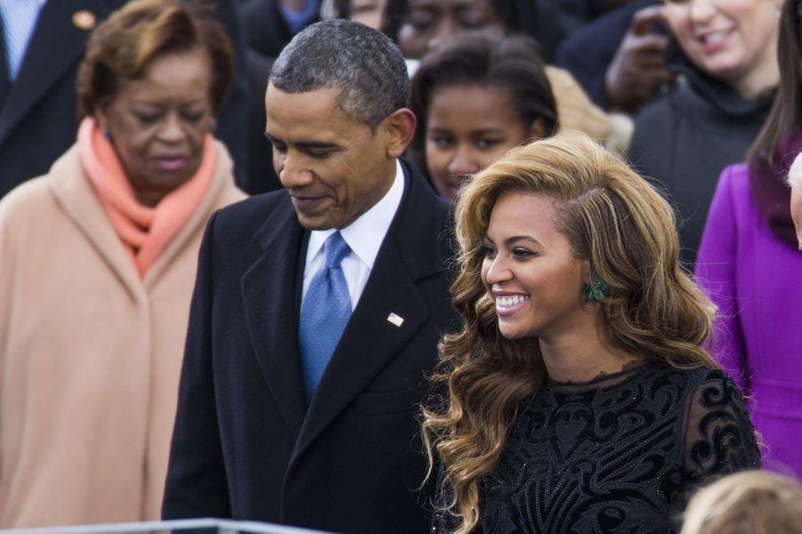 Barack Obama et Beyoncé lors de la seconde investiture de Barack Obama à Washington le 21 janvier 2013