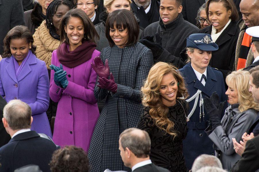 Beyoncé (avec Jill Biden) lors de la seconde investiture de Barack Obama à Washington le 21 janvier 2013