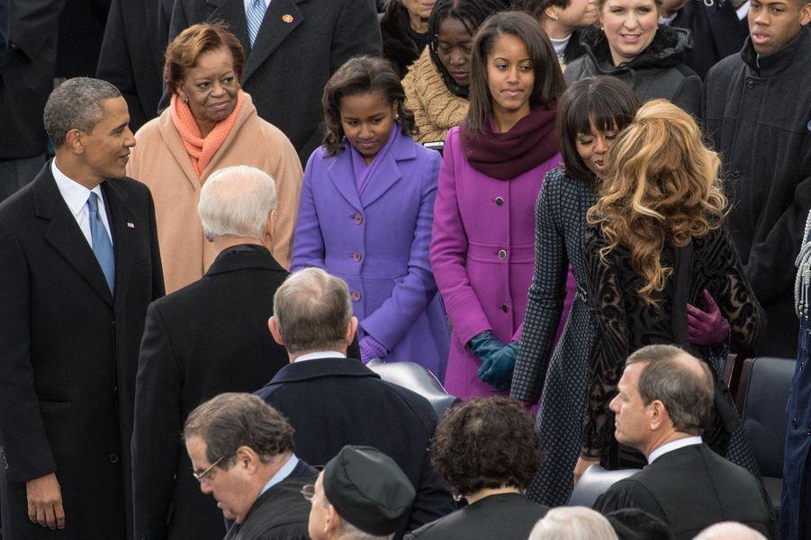 Beyoncé (avec Michelle Obama) lors de la seconde investiture de Barack Obama à Washington le 21 janvier 2013