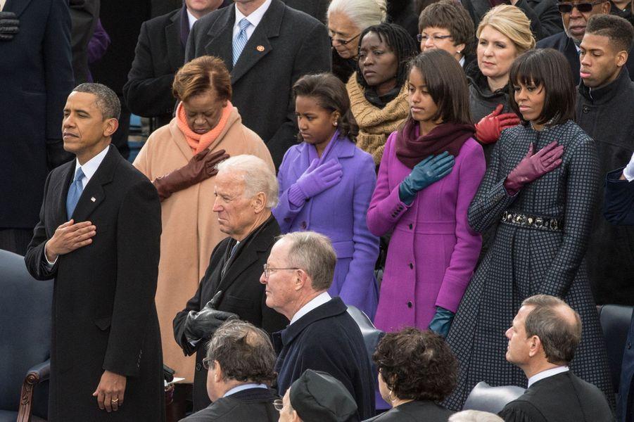 Barack Obama et sa famille lors de sa seconde investiture en tant que président des Etats-Unis, à Washington le 21 janvier 2013